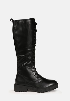 Missguided Black Faux Leather Lace Up Knee High Boots