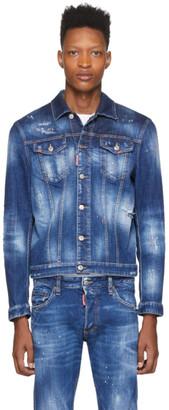 DSQUARED2 Blue Denim Orange Macchia Denim Jacket