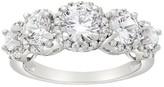 Tiara 10k White Gold 5-stone Round-cut Halo CZ Ring