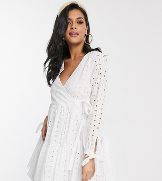 ASOS DESIGN Maternity broderie wrap trapeze tiered mini dress in white