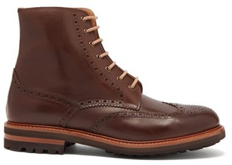 Brunello Cucinelli Leather Brogue Boots - Mens - Brown