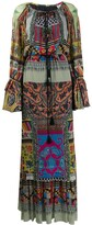 Etro pleated patterned maxi dress