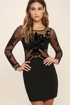 LuLu*s Dream in Deco Black Long Sleeve Bodycon Dress