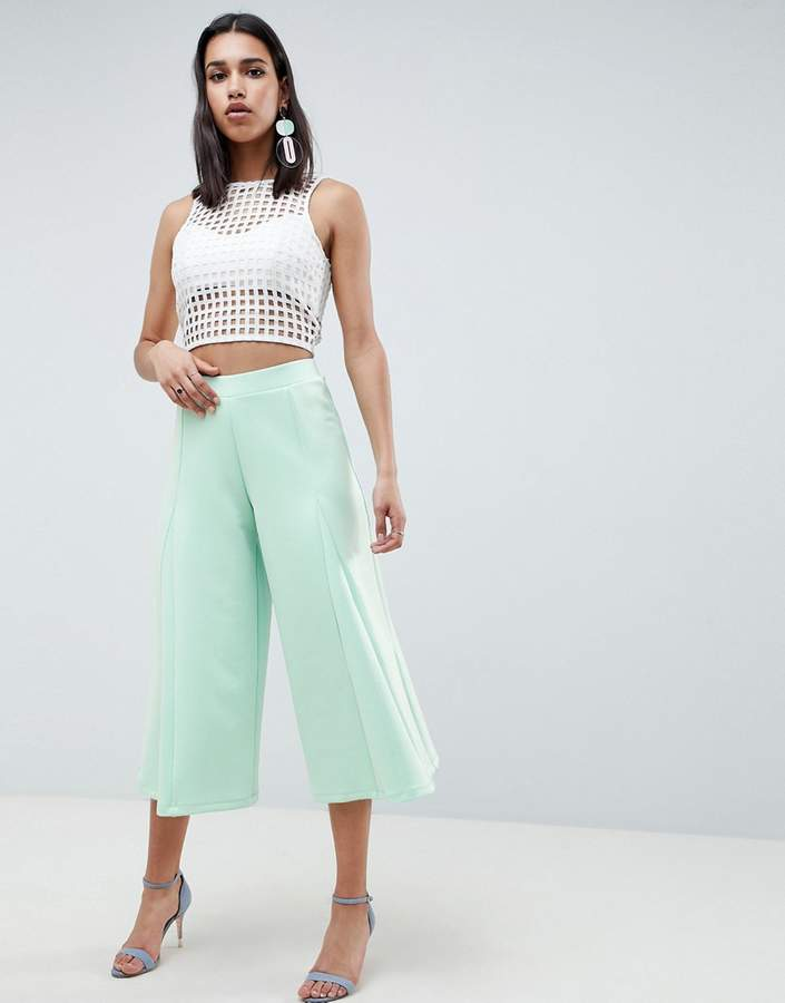 Asos Design DESIGN cropped wide leg pants with flowing hem