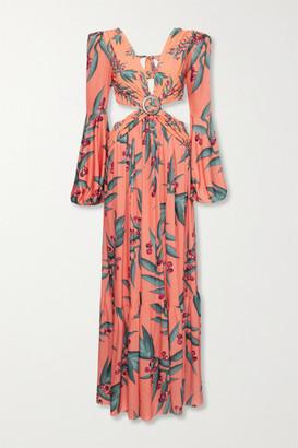 PatBO Cutout Floral-print Crepe Maxi Dress - Coral