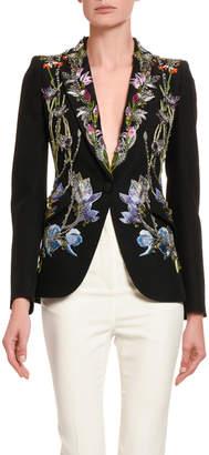 Alexander McQueen Floral-Embroidered Blazer