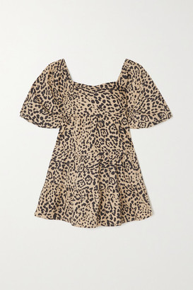 Faithfull The Brand + Net Sustain Eryn Tie-detailed Tiered Leopard-print Cotton-poplin Mini Dress - Leopard print