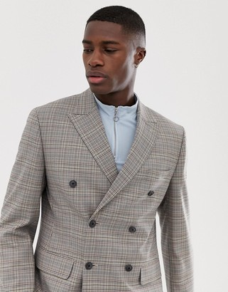 Asos Design DESIGN slim double breasted blazer in gray check