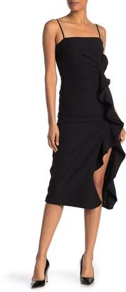 Bardot Fiona Trumpet Ruffle Satin Dress