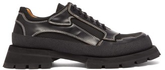 Jil Sander Exaggerated-sole Leather-trim Derby Shoes - Mens - Black