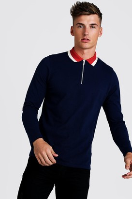 boohoo Mens Navy Long Sleeve Zip Polo With Contrast Collar, Navy