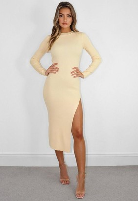 Missguided Yellow Knit Crew Neck Midi Dress