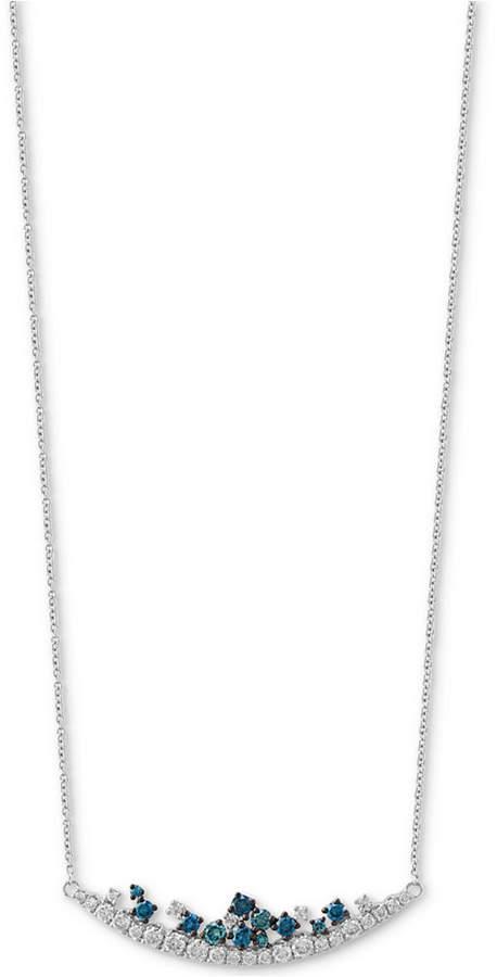 "Effy Shades of Bleu Diamond 18"" Statement Necklace (3/4 ct. t.w.) in 14k White Gold"