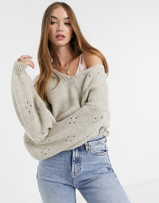 ASOS Design sweater with v-neck and sleeve stitch detail in taupe