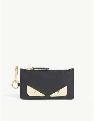 Fendi Bug zip leather cardholder