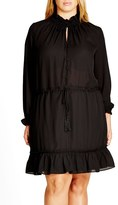 City Chic Plus Size Women's 'Miss Stevie' Ruffle Drawstring Tunic