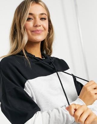 New Look colour block hoodie in black