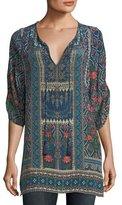 Tolani Aster 3/4-Sleeve Printed Silk Long Tunic, Plus Size