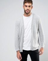 Asos Longline Open Cardigan in Cable with Rib Detail