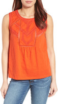Caslon Embroidered Lace Detail Cotton & Modal Tank (Regular & Petite)