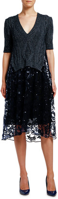 Antonio Marras Metallic Ribbed Dress