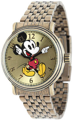 Character Disney Mickey Mouse Mens Gold-Tone Stainless Steel Vintage-Style Watch