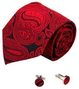 Y&G Paisleys handmade silk tie cufflinks set Black pattern gifts for the groom A2083