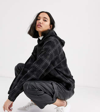 NATIVE YOUTH exclusive oversized hoodie in check co-rd-Black