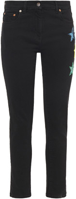Valentino Sequin-embellished Mid-rise Skinny Jeans