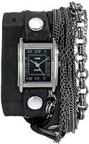 La Mer Women's LMMULTI7000 Carerra Stainless Steel Watch with Black Leather Wraparound Band