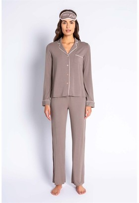 PJ Salvage Modal Basics Solid Pj Set With Eye Mask Cocoa Xs