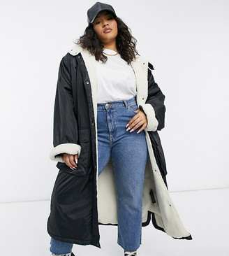 ASOS DESIGN Curve teddy lined maxi raincoat in black