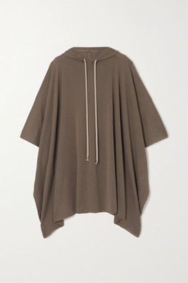 Rick Owens Hooded Wool Poncho - Light gray