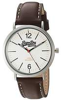 Superdry Men's 'Oxford' Quartz Brass-Plated-Stainless-Steel and Leather Dress Watch, Color:Brown (Model: SYG194TS)