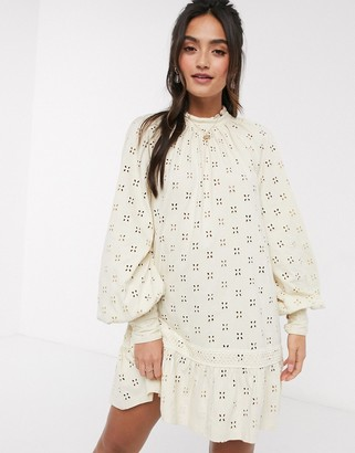 ASOS DESIGN broderie long sleeve mini smock dress in cream
