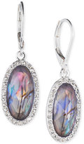 lonna & lilly Silver-Tone Iridescent Stone and Crystal Oval Drop Earrings