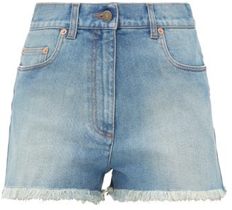Gucci Cherry-embroidered Denim Shorts - Denim