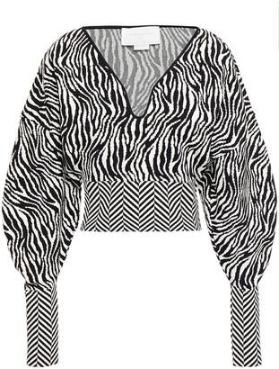 Esteban Cortazar Paneled Jacquard-knit Sweater