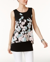 Alfani Petite Floral-Print Crop-Overlay Top, Created for Macy's