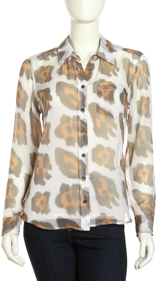Equipment Brett Leopard-Print Chiffon Blouse, Bright White