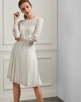 Ted Baker DIANNAH Lace trim pleated skirt dress
