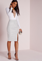 Missguided Thigh Split Faux Suede Midi Skirt Grey