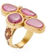 Amrapali 22K Yellow Gold, Ruby & 0.10 Total Ct. Diamond Shield Ring