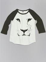 Junk Food Clothing Kids Girls Lion Face Raglan-sugar/black Wash-l