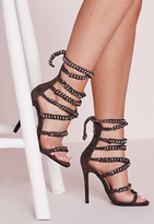 Missguided Woven Chain Heeled Gladiator Sandals Grey