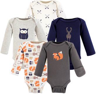 Hudson Baby Boys' Infant Bodysuits Forest - Charcoal Fox Long-Sleeve Bodysuit Set - Newborn