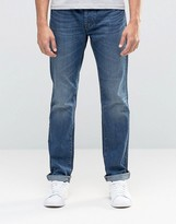 Benetton Mid Wash Distressed Jeans in Regular Fit
