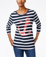Charter Club Striped Anchor Graphic Top, Only at Macy's