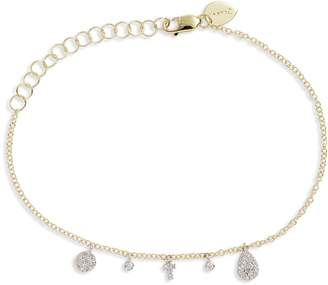 Meira T Diamond Cross Charm Bracelet