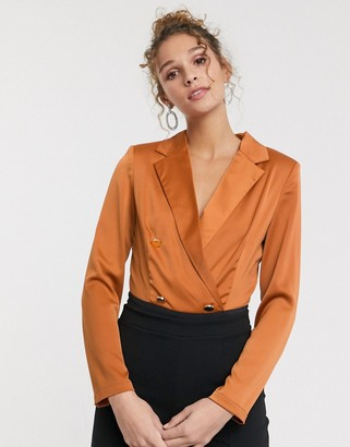 Paper Dolls tailored blouse bodysuit with gold button detail in terracotta
